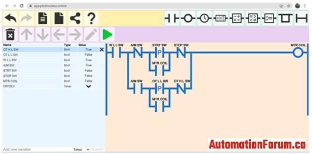 Overhead Water tank level control ladder logic
